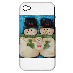 Snowman Family Apple Iphone 4/4s Hardshell Case (pc+silicone)