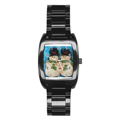 Snowman Family Stainless Steel Barrel Watch