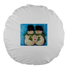 Snowman Family Large 18  Premium Flano Round Cushions