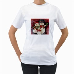 Snowman Family No  2 Women s T Shirt (white) (two Sided)