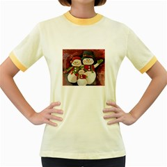 Snowman Family No  2 Women s Fitted Ringer T Shirts