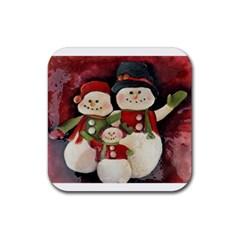 Snowman Family No  2 Rubber Coaster (square)