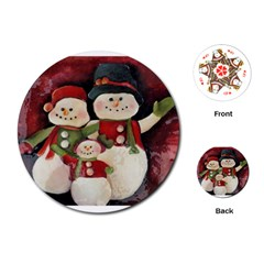 Snowman Family No. 2 Playing Cards (Round)