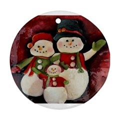 Snowman Family No  2 Round Ornament (two Sides)