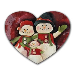 Snowman Family No  2 Heart Mousepads