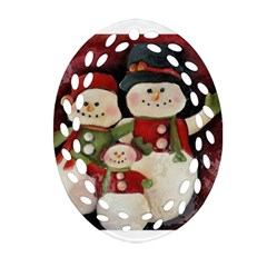 Snowman Family No. 2 Oval Filigree Ornament (2-Side)