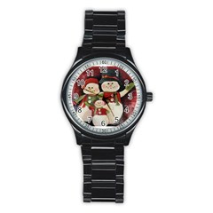 Snowman Family No  2 Stainless Steel Round Watches