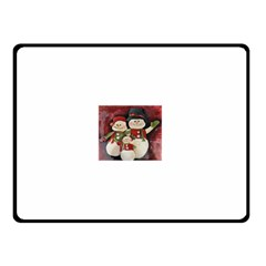 Snowman Family No  2 Double Sided Fleece Blanket (small)