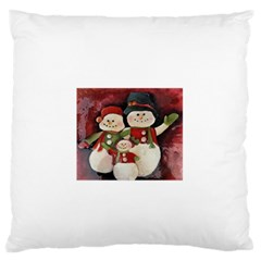 Snowman Family No  2 Standard Flano Cushion Cases (one Side)