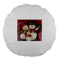 Snowman Family No. 2 Large 18  Premium Flano Round Cushions