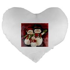 Snowman Family No. 2 Large 19  Premium Flano Heart Shape Cushions