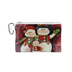 Snowman Family No. 2 Canvas Cosmetic Bag (S)