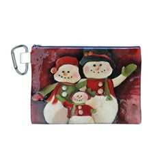 Snowman Family No. 2 Canvas Cosmetic Bag (M)