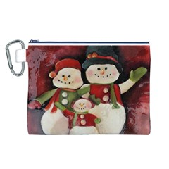 Snowman Family No  2 Canvas Cosmetic Bag (l)