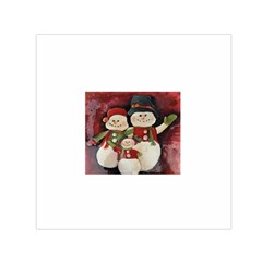 Snowman Family No. 2 Small Satin Scarf (Square)