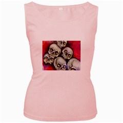 Halloween Skulls No 1 Women s Pink Tank Tops