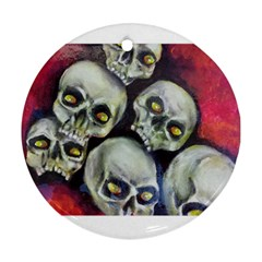 Halloween Skulls No 1 Round Ornament (two Sides)