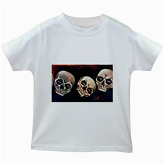 Halloween Skulls No. 2 Kids White T-Shirts