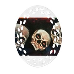 Halloween Skulls No  2 Oval Filigree Ornament (2 Side)