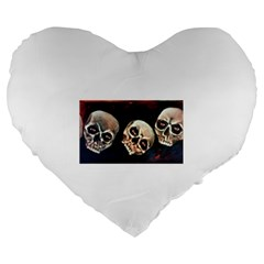 Halloween Skulls No  2 Large 19  Premium Flano Heart Shape Cushions