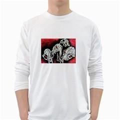 Halloween Skulls No. 3 White Long Sleeve T-Shirts