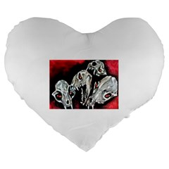 Halloween Skulls No  3 Large 19  Premium Flano Heart Shape Cushions