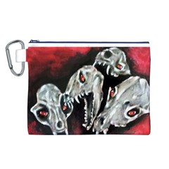 Halloween Skulls No. 3 Canvas Cosmetic Bag (L)