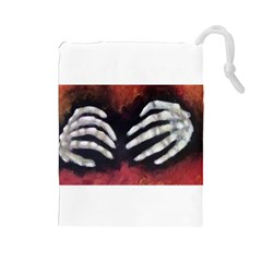 Halloween Bones Drawstring Pouches (large)
