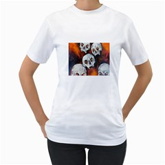 Halloween Skulls No. 4 Women s T-Shirt (White) (Two Sided)