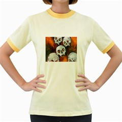 Halloween Skulls No  4 Women s Fitted Ringer T Shirts