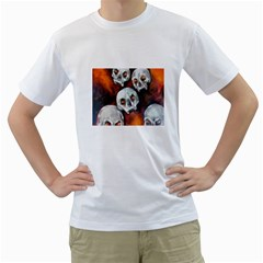 Halloween Skulls No  4 Men s T Shirt (white) (two Sided)