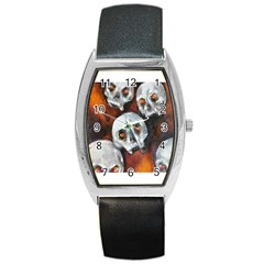 Halloween Skulls No  4 Barrel Metal Watches