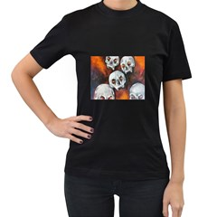 Halloween Skulls No. 4 Women s T-Shirt (Black) (Two Sided)