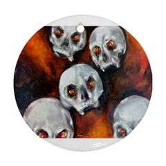 Halloween Skulls No  4 Round Ornament (two Sides)