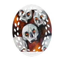 Halloween Skulls No  4 Ornament (oval Filigree)
