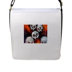 Halloween Skulls No  4 Flap Messenger Bag (l)