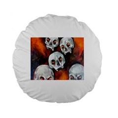 Halloween Skulls No. 4 Standard 15  Premium Flano Round Cushions