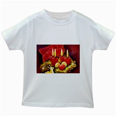 Holiday Candles  Kids White T Shirts