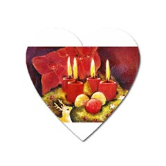Holiday Candles  Heart Magnet