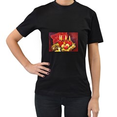 Holiday Candles  Women s T-Shirt (Black) (Two Sided)