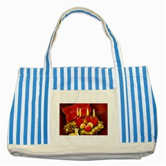 Holiday Candles  Striped Blue Tote Bag