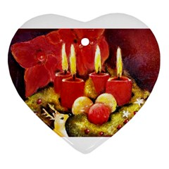 Holiday Candles  Heart Ornament (2 Sides)