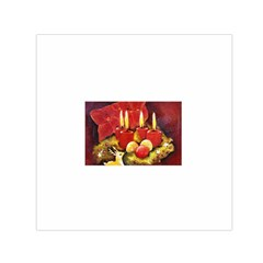 Holiday Candles  Small Satin Scarf (Square)