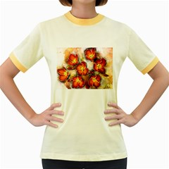 Fall Flowers Women s Fitted Ringer T-Shirts