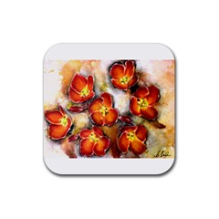 Fall Flowers Rubber Coaster (square)