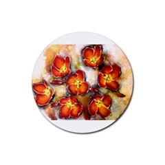 Fall Flowers Rubber Coaster (round)