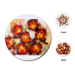 Fall Flowers Playing Cards (Round)