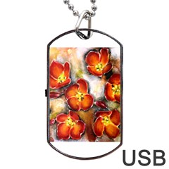 Fall Flowers Dog Tag Usb Flash (one Side)