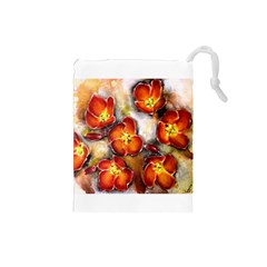 Fall Flowers Drawstring Pouches (Small)