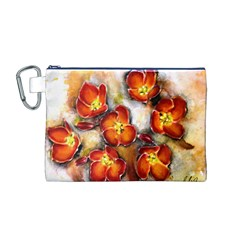 Fall Flowers Canvas Cosmetic Bag (M)